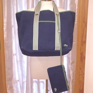 Lacoste Heavy Canvas Navy Blue Beach Tote